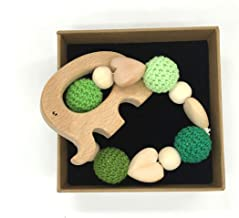 Amyster Baby Wooden Teether Wooden Handmade Nursing Wooden Crochet Bead Teething Crochet Bead Knitted Bead with Bracelet (Color 1)