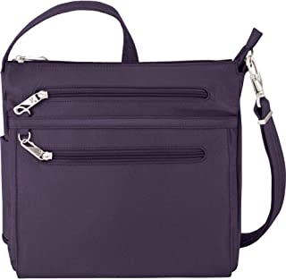 Anti-Theft Essential North/South Bag - Small Nylon Crossbody for Travel & Everyday - (Purple/Gray Interior)