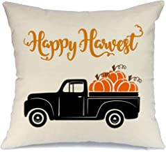 AENEY Fall Happy Harvest Truck Pumpkin Throw Pillow Cover 18 x 18 for Couch Autumn Thanksgiving Decorations Farmhouse Home Decor Decorative Pillowcase Faux Linen Cushion Case for Sofa