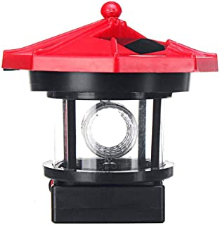 Perfuw Solar Lighthouse, LED 360 Degree Rotating Lamp for Garden Lighting, IP65 Waterproof Beacon Suitable Outdoor Ornament Decoration for Lawn/Patio/Pond