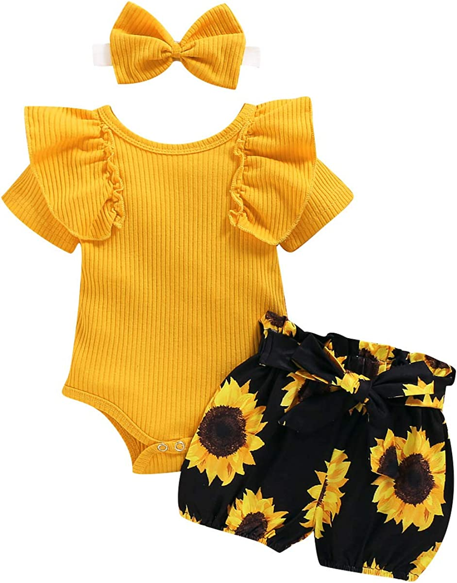 Newborn Girl Clothes Ruffle Short Sleeve Romper Floral Shorts Set and Headband 3Pcs Baby Girl Summer Outfits