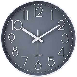 jomparis 12 Inch Non-Ticking Wall Clock Silent Battery Operated Round Wall Clock Modern Simple Style Decro Clock for Home/Office/School/Kitchen/Bedroom/Living Room (Gray)