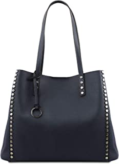 Tuscany Leather TLBag Soft Leather Shopping Bag - TL141735 (Dark Blue)