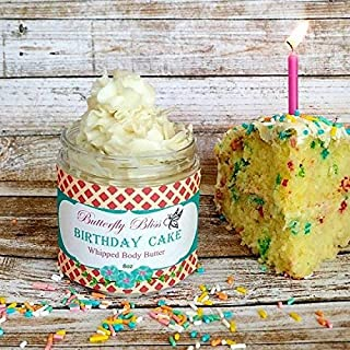 Birthday Cake Whipped Body Butter, natural lotion, organic, 8oz jar, made with shea butter, mango butter, coconut oil, almond oil