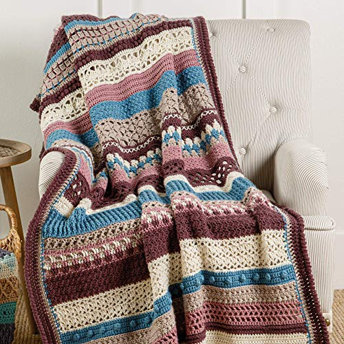 Crochet Striped Afghan Club - 30-Stripe Stitch Sampler Afghan Subscription Club: Plumberry Colorway