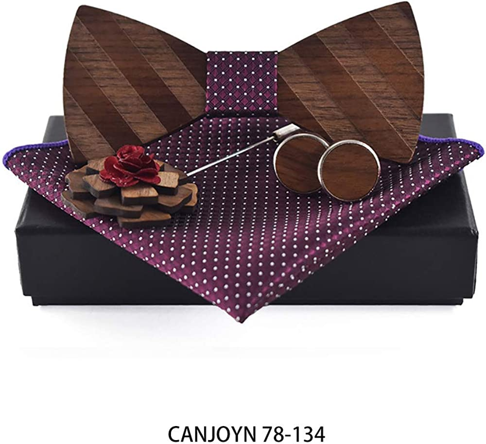 Wooden Mens Bow Ties Pocket Square and Cufflinks Wooden Bowties Nicktie