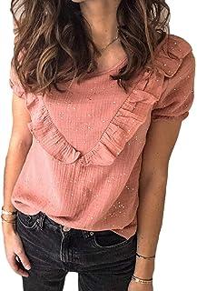 Yeirui Women Round Neck Ruffle Tops Short Sleeve T-Shirt Blouse