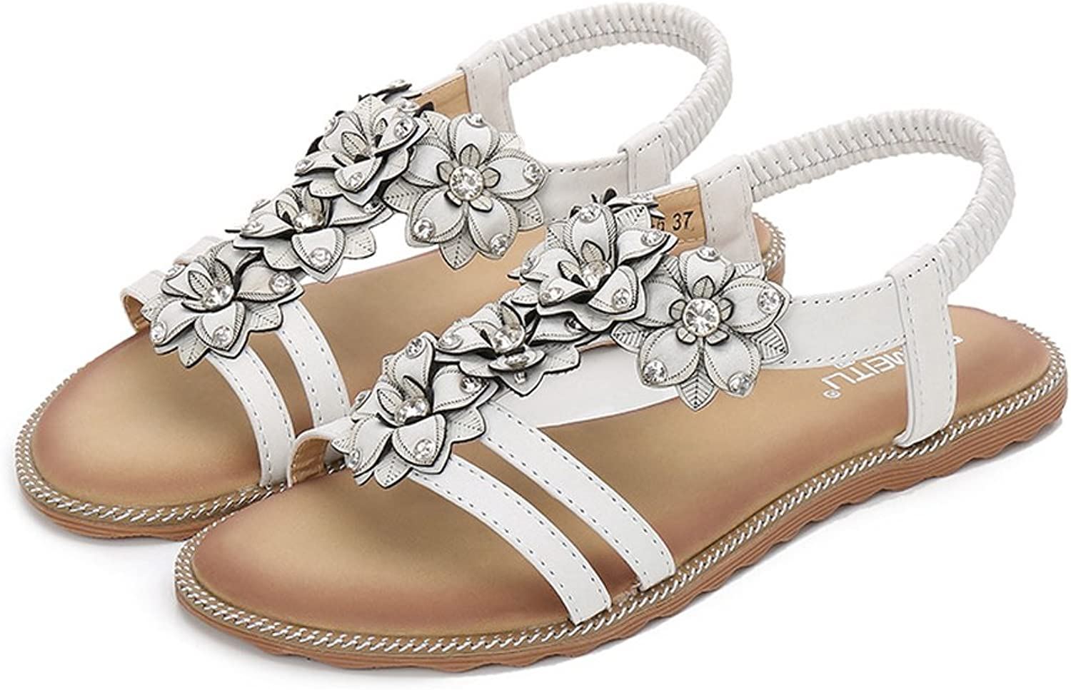 Tuoup Women's Flat Leather Flowers Casual Ladies Sandals Sandles