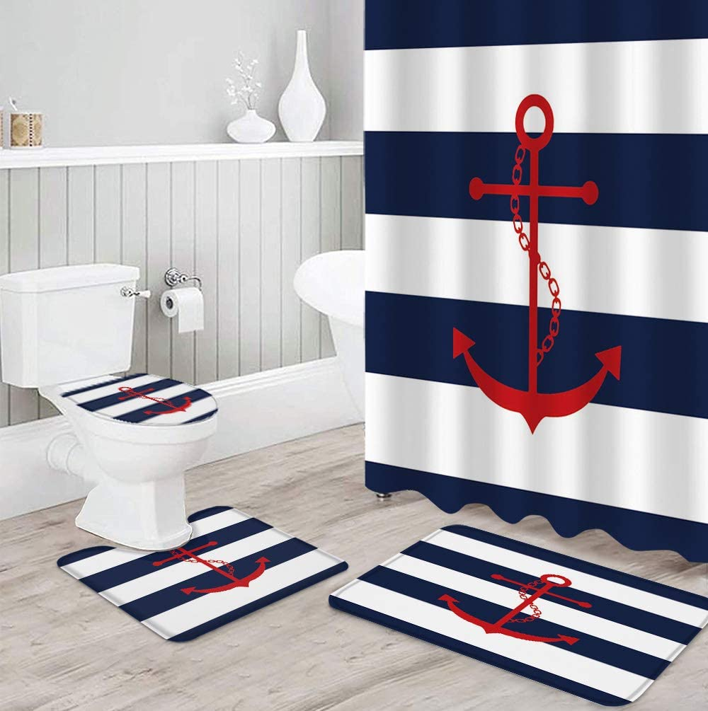 IDOWMAT 4 Piece Shower Cheap mail order shopping Selling and selling Curtain Sets Red Blue White Anchor on and