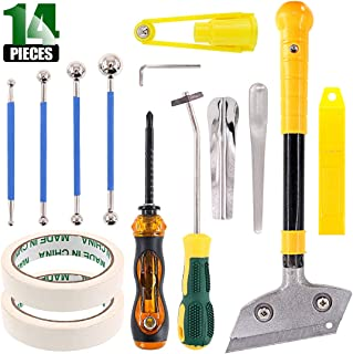 Keadic 14 Pieces Caulking Tool Kit Silicone Sealant Finishing Tools Metal Beads Tile Masking Tape Yin and Yang Angle Scraper Multi-Purpose Screwdriver Scraper and Spare Blades, for Bathroom Kitchen