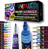 ARTIZCO Acrylic Paint Pens for Rock Painting, 18 Pack Paint Pens Comes with Acrylic Markers, Metallic & Glitter, 0.7mm & 3 mm Tips, DIY Craft Paint Pens for Rock Painting, Stone, Ceramic, Glass, Wood