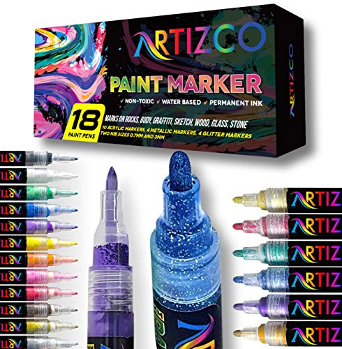 ARTIZCO 18 Pack Paint Markers - Acrylic Paint Pens for Rock Painting, Acrylic, Metallic & Glitter Paint Pens, 0.7mm & 3 mm Tips, DIY Craft Paint Pens for Rock Painting, Stone, Ceramic, Glass, Wood
