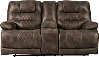 Sponsored Ad - Signature Design by Ashley - Welsford Faux Leather Power Reclining Loveseat w/ Console - Dark Brown