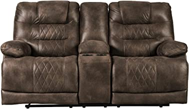 Signature Design by Ashley - Welsford Faux Leather Power Reclining Loveseat w/ Console - Dark Brown