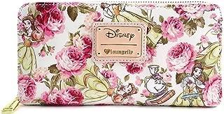 Disney Beauty & The Beast Belle Mrs. Potts Pink Peony Floral Wallet