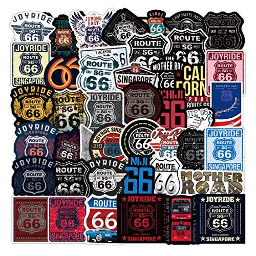 Arpa 50 Stück Route 66 Aufkleber für Laptops, Bücher, Autos, Motorräder, Skateboards, Fahrräder, Koffer, Skier, Gepäck, Becher, Hydrokolben etc. DXQX