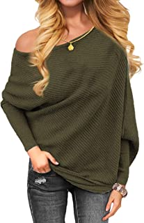 Women's Off Shoulder Knit Jumper Long Sleeve Pullover...