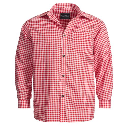 Bongossi-Trade Trachtenhemd für Trachten Lederhosen Freizeit Hemd rot-kariert L