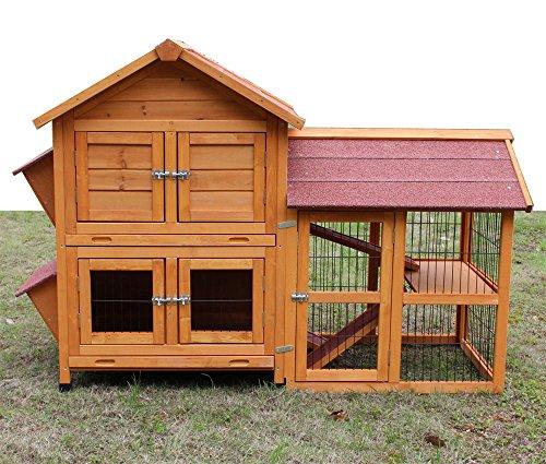 """Kaninchenstall Kleintierhaus Hasenstall Kleintierkäfig Nr. 05 """"De Luxe"""" mit Seitenflügeln"""