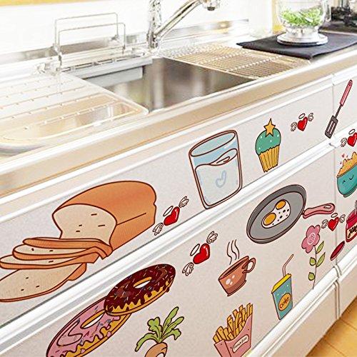 LKJUYHGS Muursticker Muurdecoraties Keuken Stickers Pvc Materiaal Diy Cartoon Kookgerei Voedsel Sticker Voor Huis Kast Koelkast Tegels Decoratie