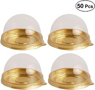 BESTONZON - Caja de plástico transparente para cupcakes, 50 unidades, color dorado