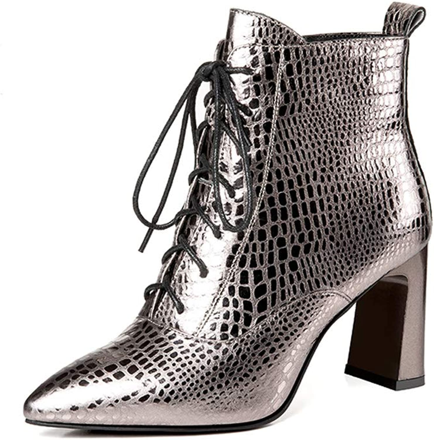 Booties Women's Thick Boots 2018 Autumn and Winter New Silver Black Martin Boots Plus Velvet Pointed High-Heeled British Wind Bare Boots (color   White, Size   35)