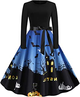 Goddessvan Halloween Women's Vintage Long Sleeve O Neck Printing Ball Gown Party Dress