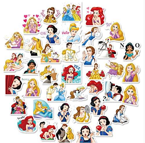 GSNY La Princesa Conduce a la Linda Chica de Dibujos Animados con corazón, Pegatinas para niños, teléfono móvil, Taza de Agua, Maleta, Pegatinas Impermeables para Cuentas de Mano 40
