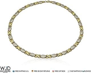 14K Yellow & White Gold Diamond Cut XO Hugs & Kisses Necklace 17