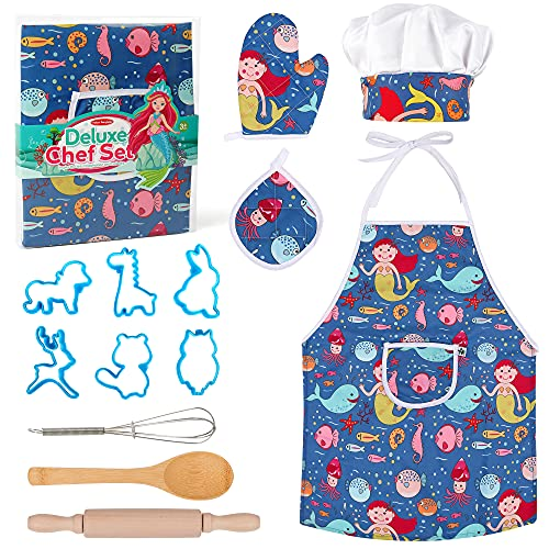 Vanmor Mermaid Kids Cooking and Baking Set, 13 Pcs Kids Baking Set with Kids Chef Hat Blue Apron for Little Boys Toddler Dress Up Chef Costume Career Role Play Toys for 3 4 5 6 Year Old Girl Boy Gifts