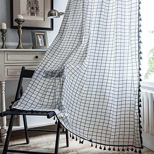 FACWAWF Ventana Pequeña Americana Simple Impresión A Cuadros Blancos Borlas Negras para Sala De Estar Dormitorio Cocina Semi-Sombreado Cortinas De Algodón Y Lino 59x71 Inch(150x180cm)