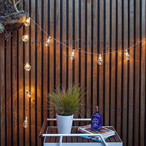 Lights4fun 2x 10er LED Party Lichterkette Edison klare Plexiglas Kugeln Batteriebetrieb