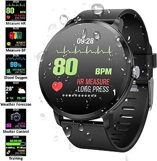 Padgene Pulsera Actividad Reloj Inteligente SmartWatch Deportivo IP67 Bluetooth con Pulsómetro Monitor de Sueño, Música, Cámara Remota, Notificación de Llamada Mensaje para Android e iOS (Negro)