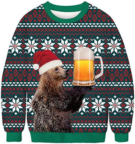EUDOLAH Herren Pullover Weihnachtspulli Weihnachtspullover Pulli 3D Druck Bunt Rundhals Langarm Weihnachten Christmas Geschenke 1-Bär Bier 2XL