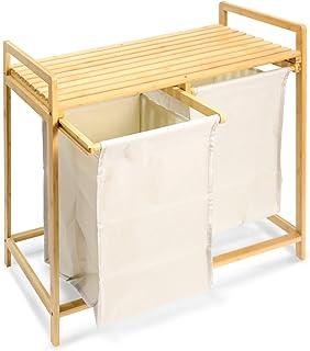 uyoyous Panier à linge en bambou avec 2 sacs à linge extensibles pour chambre à coucher, salle de bain ou buanderie Beige ...