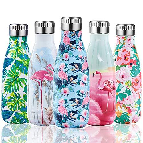 Shinemefly Botella Agua Acero Inoxidable 350ml, Botella Termica para Niños & Adultos, 12 Horas de Bebida Caliente y 24 Horas de Bebida Fría -Flamenco Rosado Azul