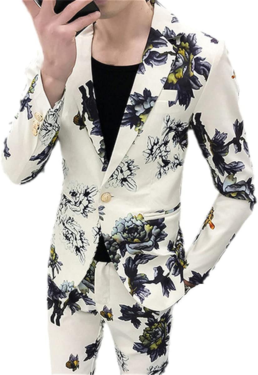 Jacket + Pants Men's Spring Printed Business Suit Jacket Slim Casual Suit Two-Piece Groom Wedding Dress