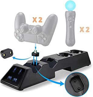 Thlevel Cargador Mando para PS4, Estación de Carga para PS4 / PS VR / Move Controller, 4 en 1 Estación de Carga con LED In...