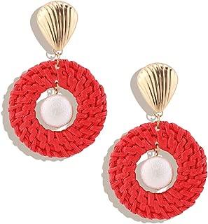 OMEYA Rattan Earrings for Women Handmade Wicker Straw Boho Earrings Shell Braid Drop Dangle Earrings Lightweight Geometric Statement Earrings