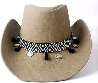 HaiNing Zheng 100% Leather Cowboy Hat For Women Roll Brim Fedora Jazz Hat With Tassel