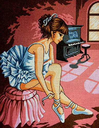 Hudemas Gobelin Stickbild Stickpackung Ballerina halber Kreuzstich 23x30cm. inkl. Sticktwist cod.003