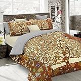 Italian Bed Linen Parure Copripiumino con Stampa Digitale a Copertura Totale Sul Sacco e Sulle Federe 2 Posti 100% Cotone, Multicolore (SD48), 250x200x1 cm