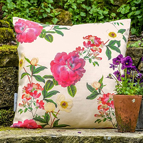 Impermeable De Diseño Jardín Exterior Cojín - Floral Glade - Gnat Banco jardín Colección - Diseñado Estampado & Hecho a Mano en el Reino Unido - Crema, Set of 2, 40 x 40 cm Cushions