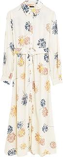 Marks & Spencer Women's Large Floral Belt Shirt Midaxi, IVORY MIX