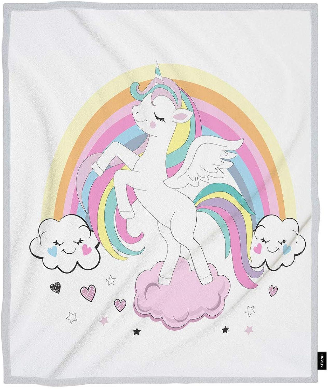 OFloral Unicorn Throw Blanket Cartoon Beautiful Cartoon Unicorn Rainbow Cloud Decorative Soft Warm Cozy Blankets Home Decor for Bed Chair Sofa Couch 50x60 Inch