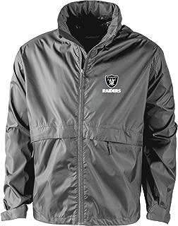 NFL Oakland Raiders Men's Sportsman Waterproof Windbreaker Jacket, Graphite, large