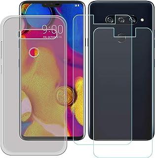 YZKJ Fodral för LG V40 ThinQ Cover grå silikon skyddsfodral TPU skal + 2 stycken pansarglas skärmskydd för LG V40 ThinQ (...