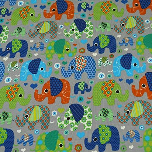 Jersey Elefanten, Kinderstoff, grau/bunt (25cm x 150cm)