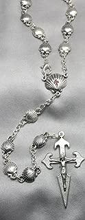 Rosario de metal con la concha de peregrino de Santiago de 80 cm