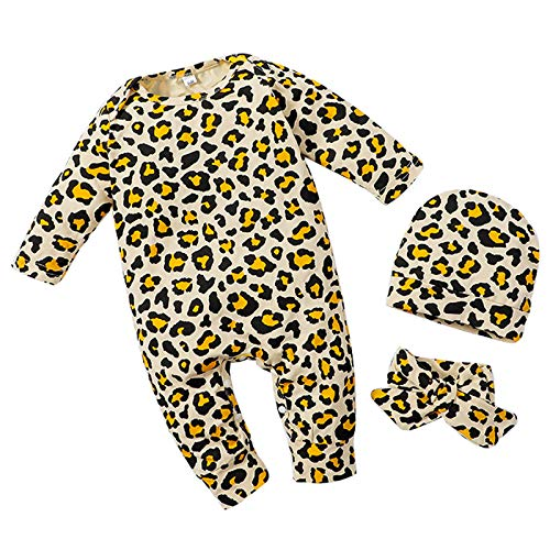 Amaone Baby Romper, Cotton Onsises Bodysuit Boys Girls Long Sleeve Sleepsuit Coveralls Leopard Print Cartoon Hat Outfits Clothes Set Khaki